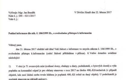 18/2017 – Podání informace dle zák. č. 106/1999 Sb.