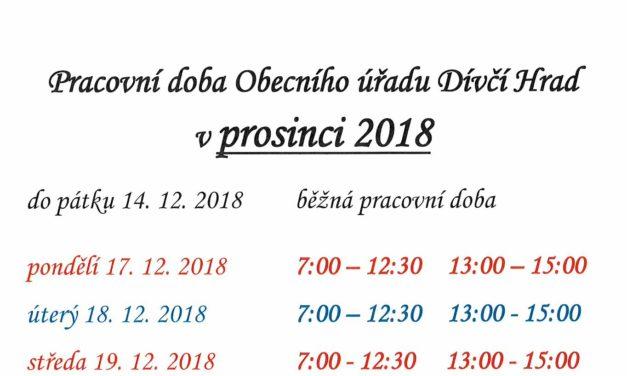 Otevírací doba obecního úřadu v závěru roku 2018